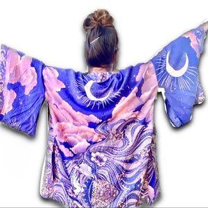 Blue & Pink Trippy MoonClouds Kimono